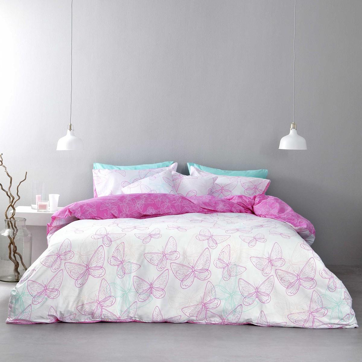 Σεντόνια Υπέρδιπλα (Σετ) Nima Bed Linen Farfalita Pink ΧΩΡΙΣ ΛΑΣΤΙΧΟ ΧΩΡΙΣ ΛΑΣΤΙΧΟ