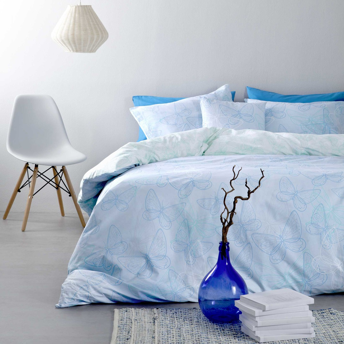 Σεντόνια Υπέρδιπλα (Σετ) Nima Bed Linen Farfalita Blue ΧΩΡΙΣ ΛΑΣΤΙΧΟ ΧΩΡΙΣ ΛΑΣΤΙΧΟ