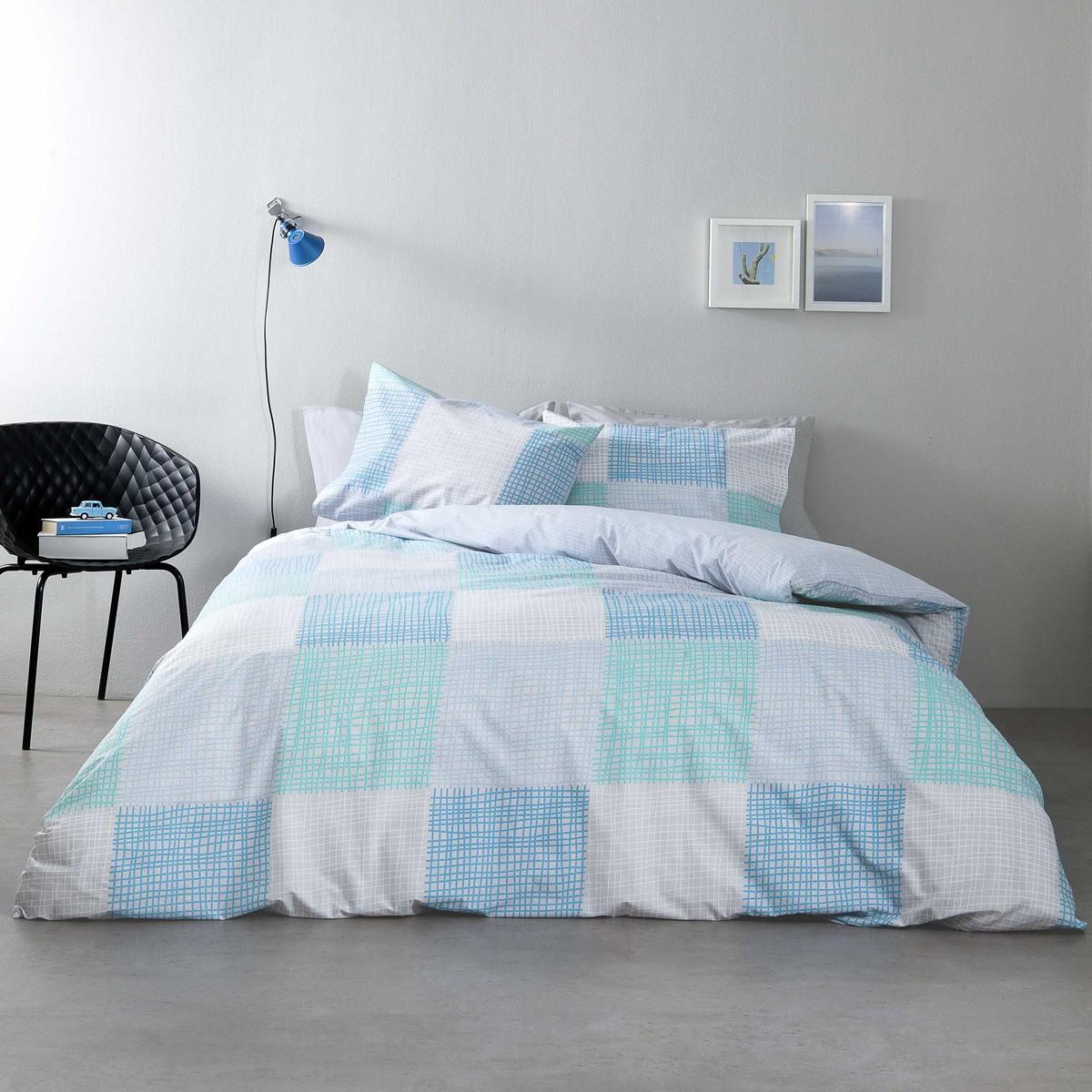 Σεντόνια Υπέρδιπλα (Σετ) Nima Bed Linen Rattan Blue ΜΕ ΛΑΣΤΙΧΟ ΜΕ ΛΑΣΤΙΧΟ