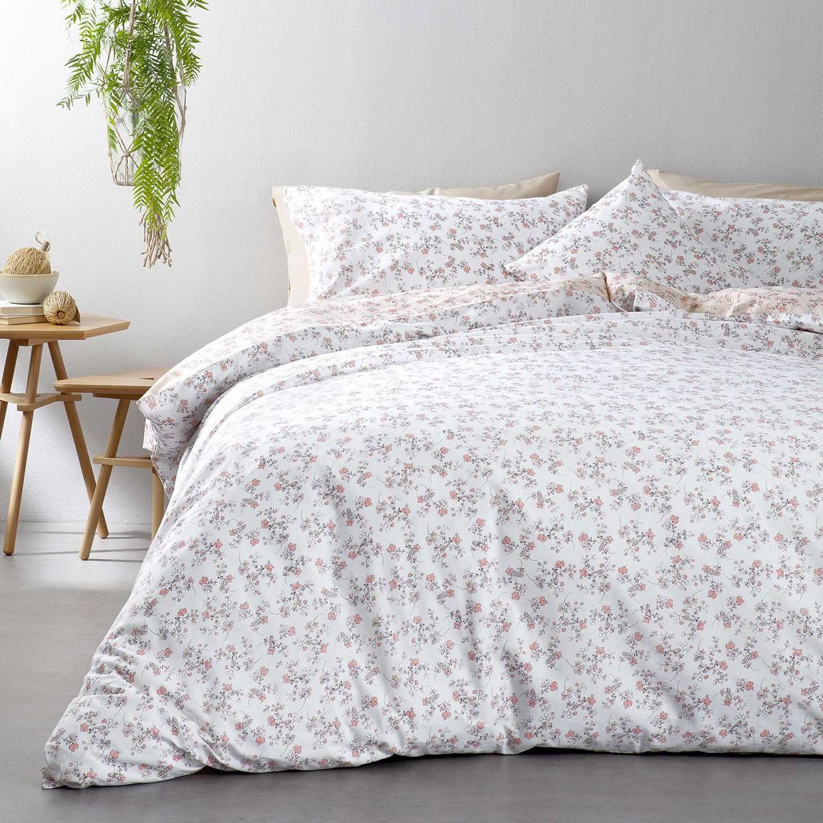 Σεντόνια Υπέρδιπλα (Σετ) Nima Bed Linen Secret Garden Pink ΧΩΡΙΣ ΛΑΣΤΙΧΟ ΧΩΡΙΣ ΛΑΣΤΙΧΟ