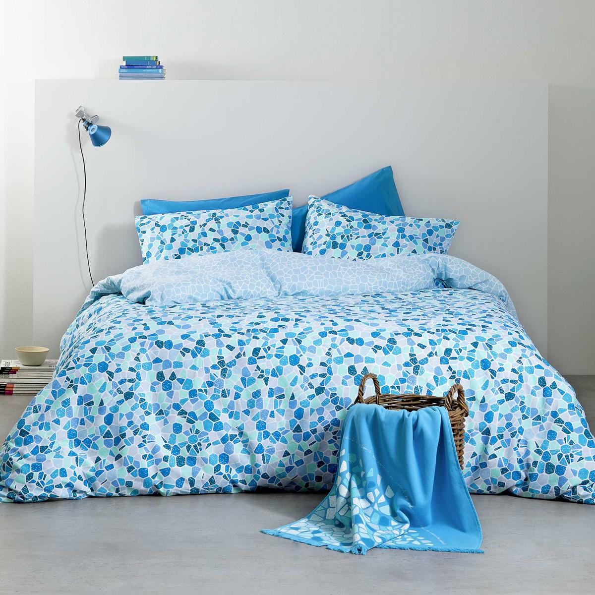 Σεντόνια Υπέρδιπλα (Σετ) Nima Bed Linen Boracay Blue ΧΩΡΙΣ ΛΑΣΤΙΧΟ ΧΩΡΙΣ ΛΑΣΤΙΧΟ