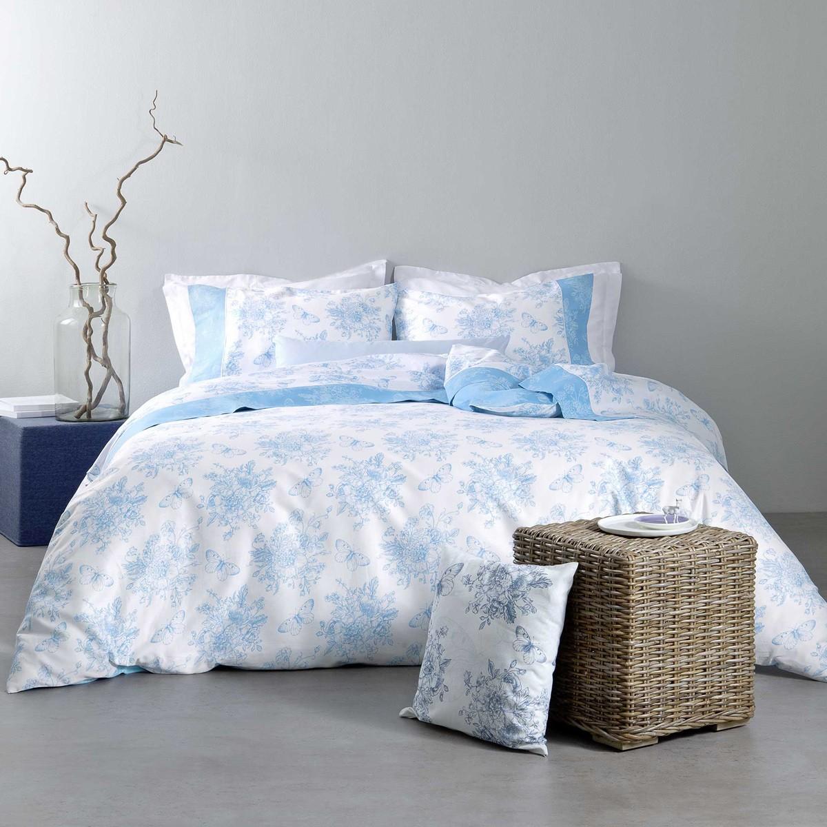 Σεντόνια Υπέρδιπλα (Σετ) Nima Bed Linen Whitehall Blue