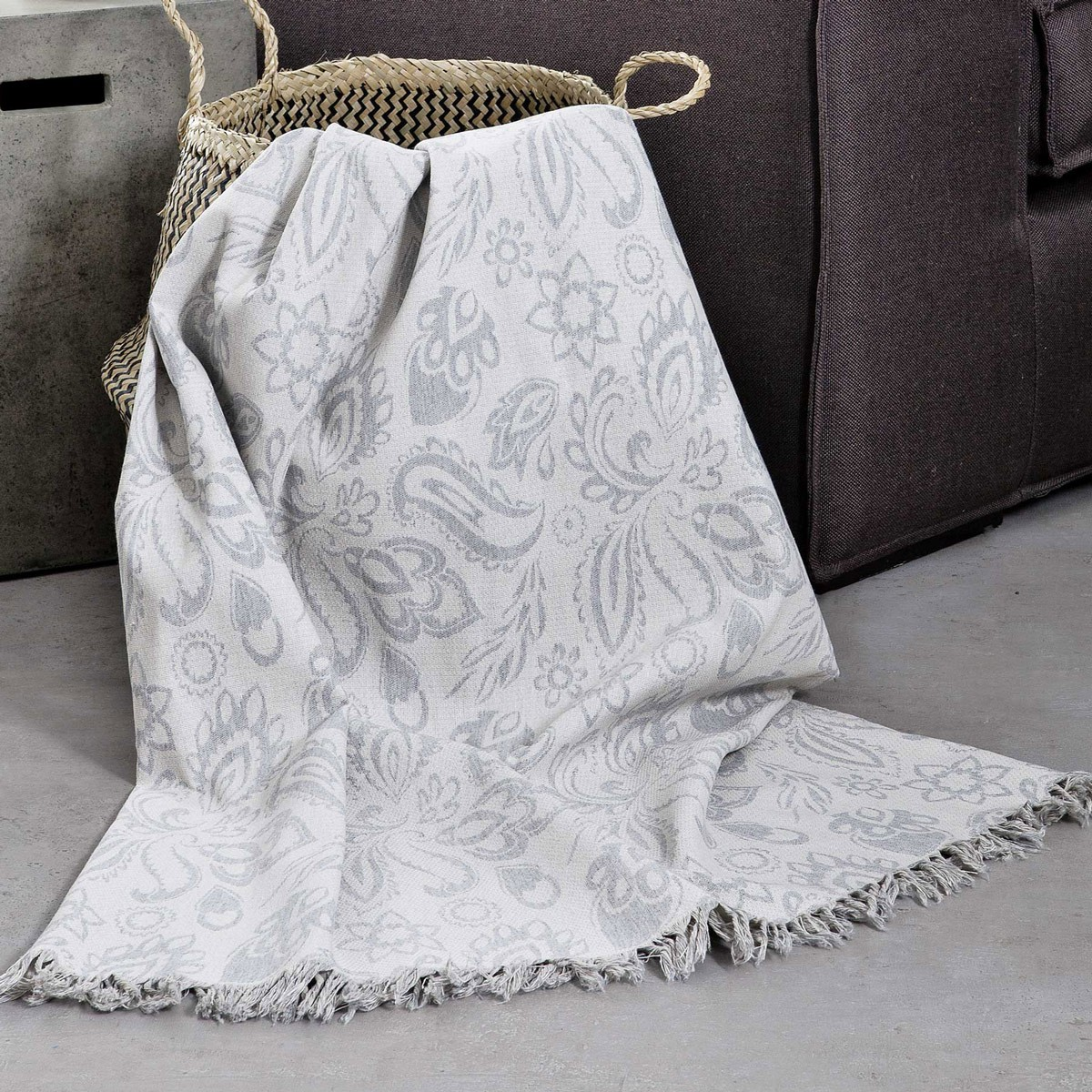 Ριχτάρι Τριθέσιου (180×300) Nima Throws Delhi Grey