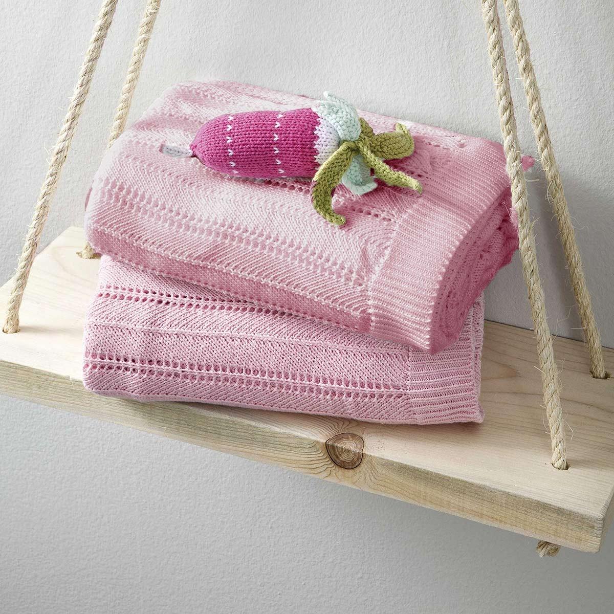 Κουβέρτα Πλεκτή Κούνιας Nima Hug Pink