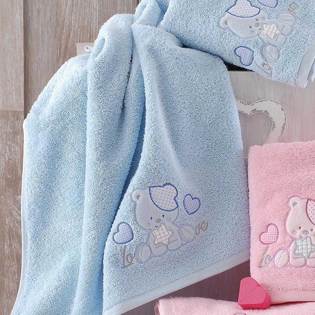 Βρεφικές Πετσέτες (Σετ 2τμχ) Rythmos Baby LoveLove Ciel