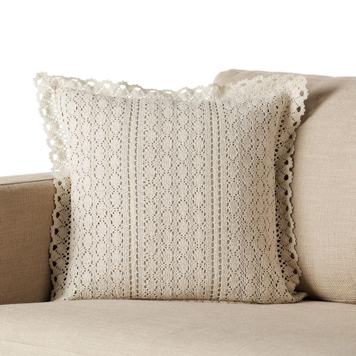 Διακοσμητική Μαξιλαροθήκη Gofis Home Crochet Beige 019/06