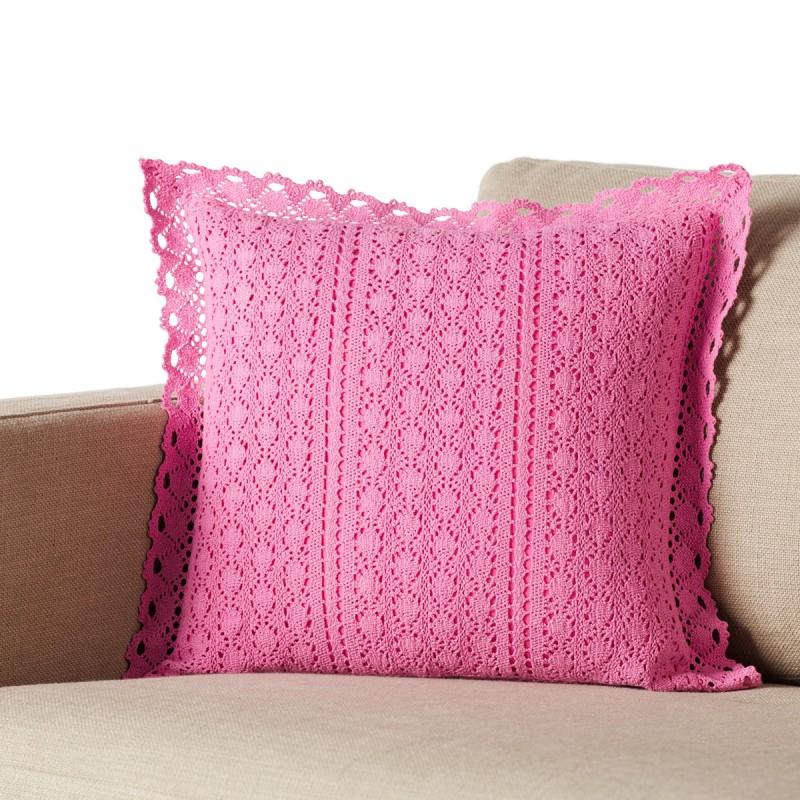 Διακοσμητική Μαξιλαροθήκη (43x43) Gofis Home Crochet Pink 019/17