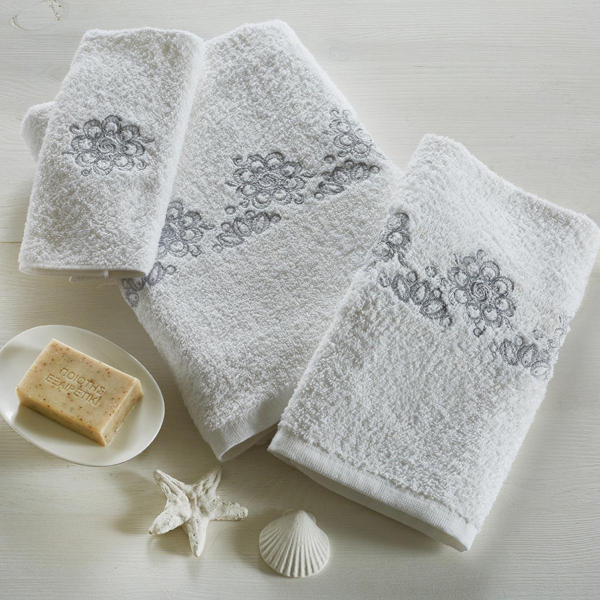Πετσέτες Μπάνιου (Σετ 3τμχ) White Egg Χρυσούλα
