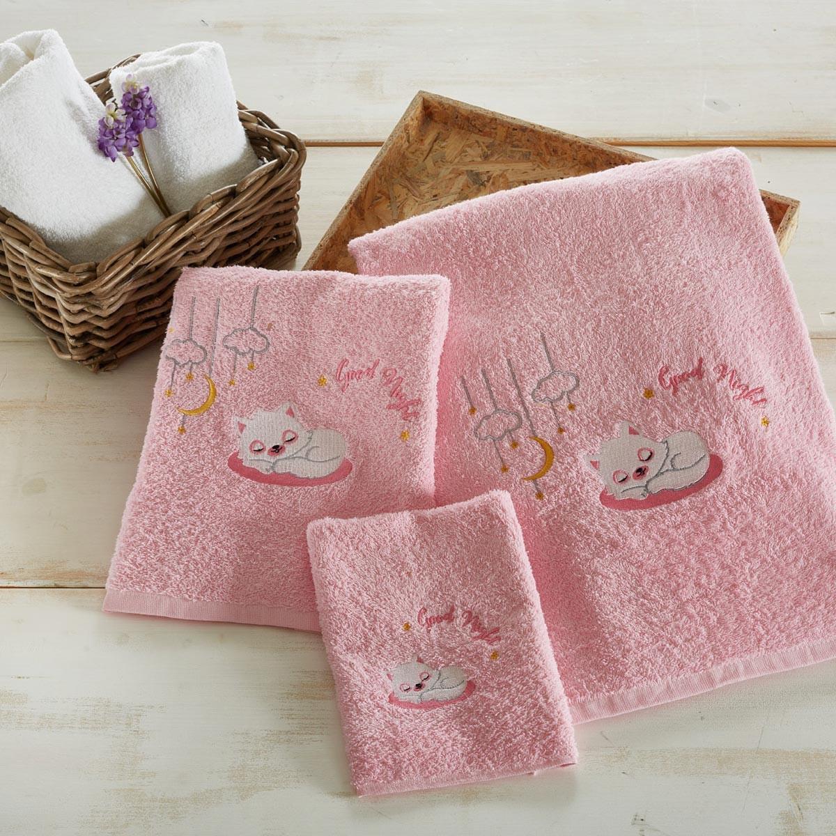 Βρεφικές Πετσέτες (Σετ 3τμχ) White Egg Γάτα Ροζ