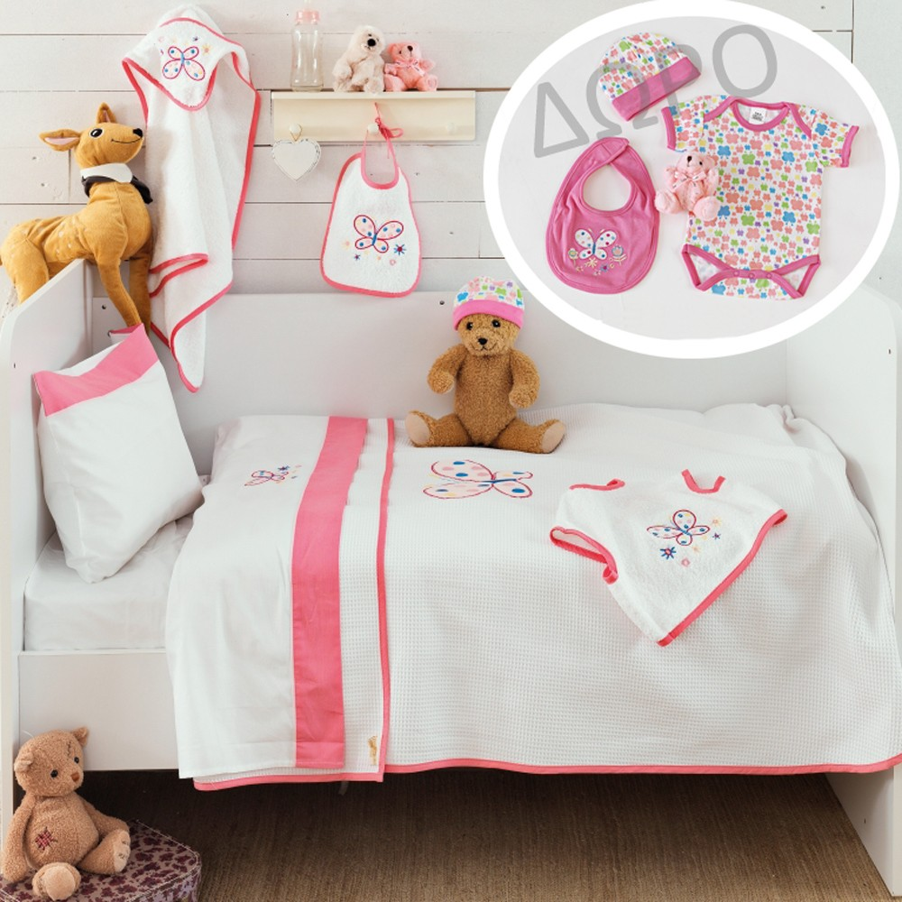 Σεντόνια Κούνιας (Σετ) + Δώρο Ρούχα Palamaiki Baby Butterfly