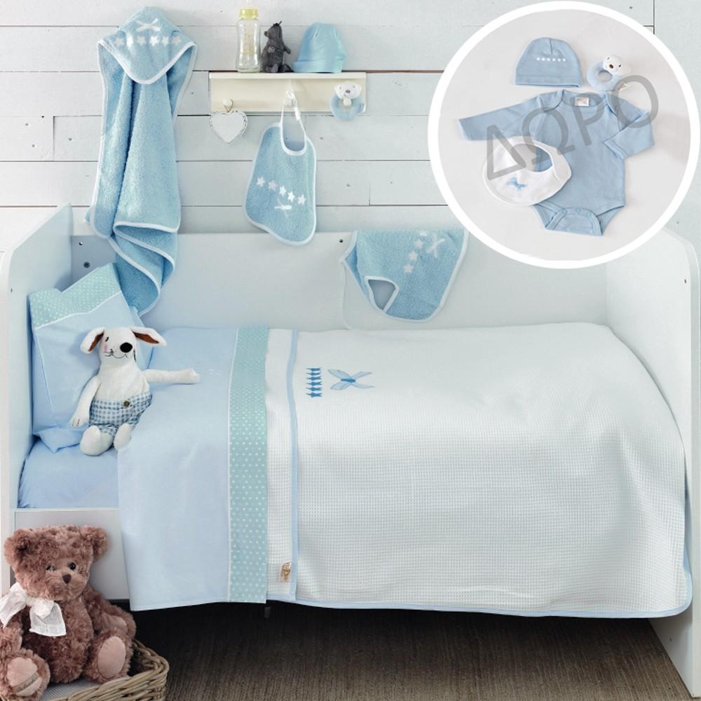 Σεντόνια Κούνιας (Σετ) + Δώρο Ρούχα Palamaiki Baby Star Blue