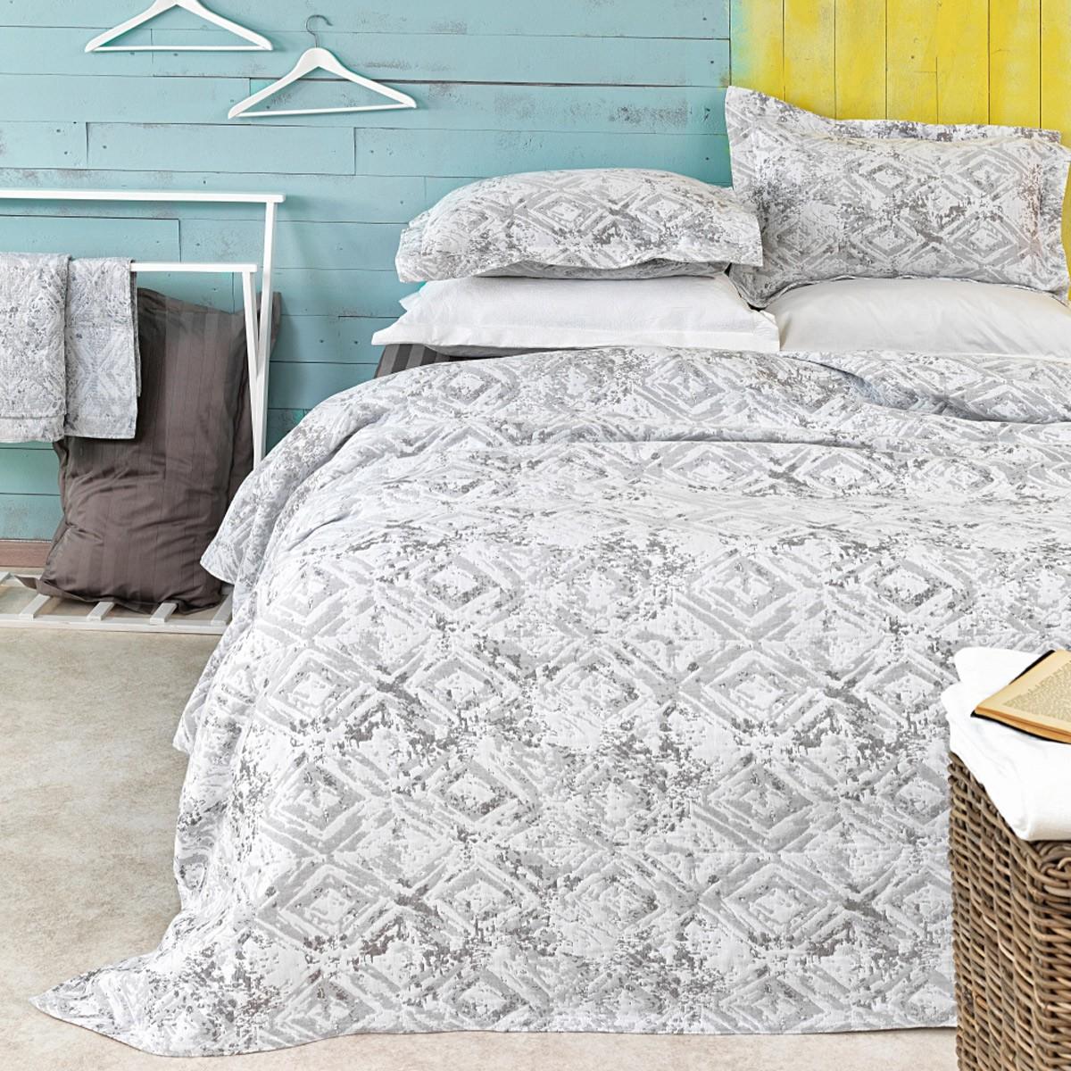 Κουβερτόριο Υπέρδιπλο (Σετ) Palamaiki Classico Lesly Grey home   κρεβατοκάμαρα   κουβέρτες   κουβέρτες καλοκαιρινές υπέρδιπλες