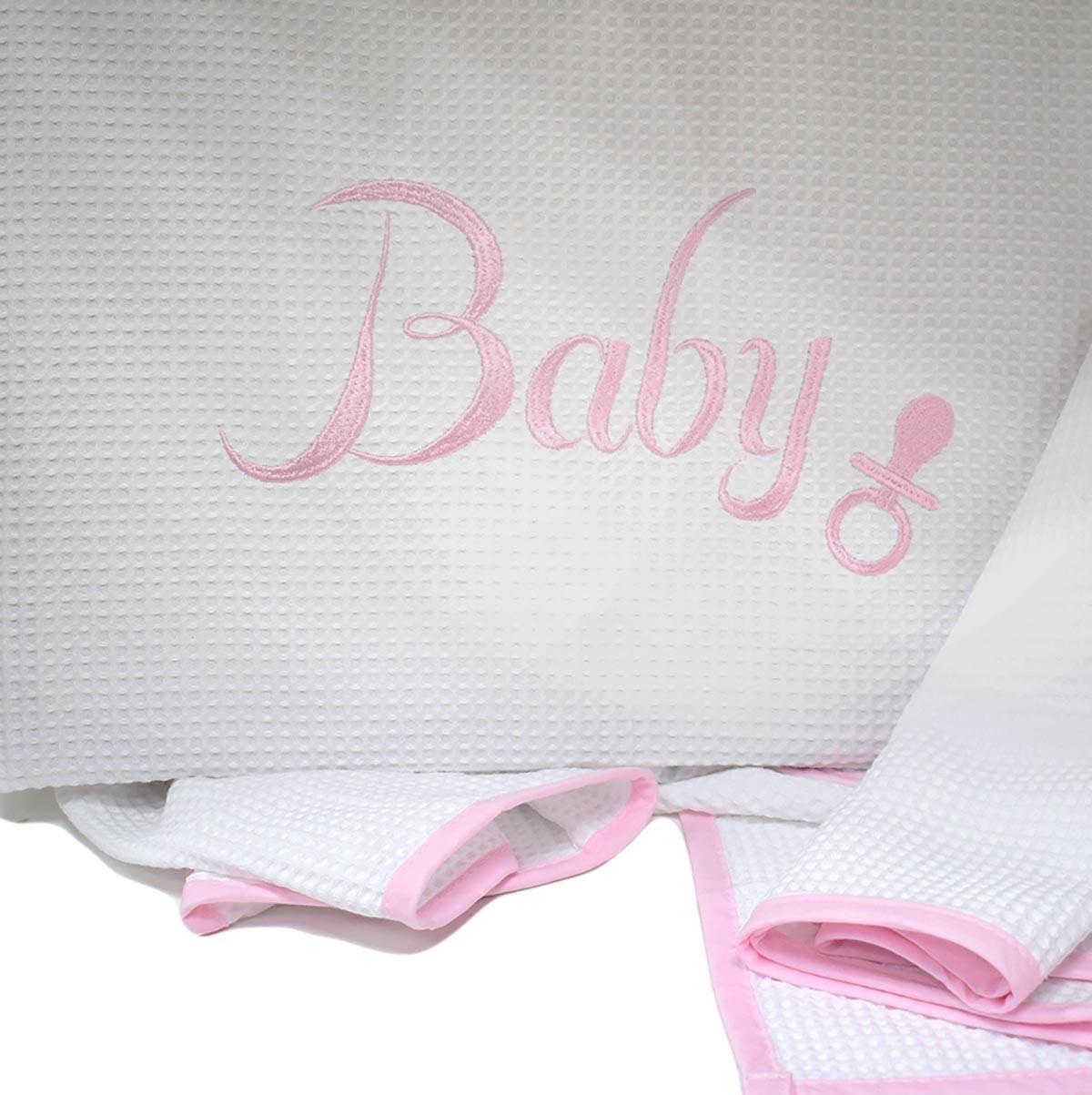 Κουβέρτα Πικέ Κούνιας Rythmos Baby Pink