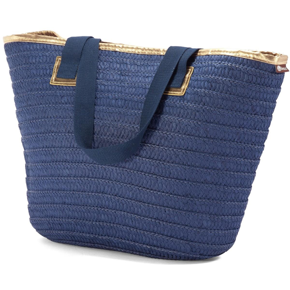 Ψάθινη Τσάντα Παραλίας Benzi 5047 Blue