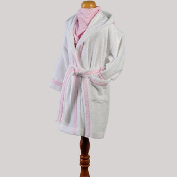 Παιδικό Μπουρνούζι Down Town Bebe Λευκό-Ροζ