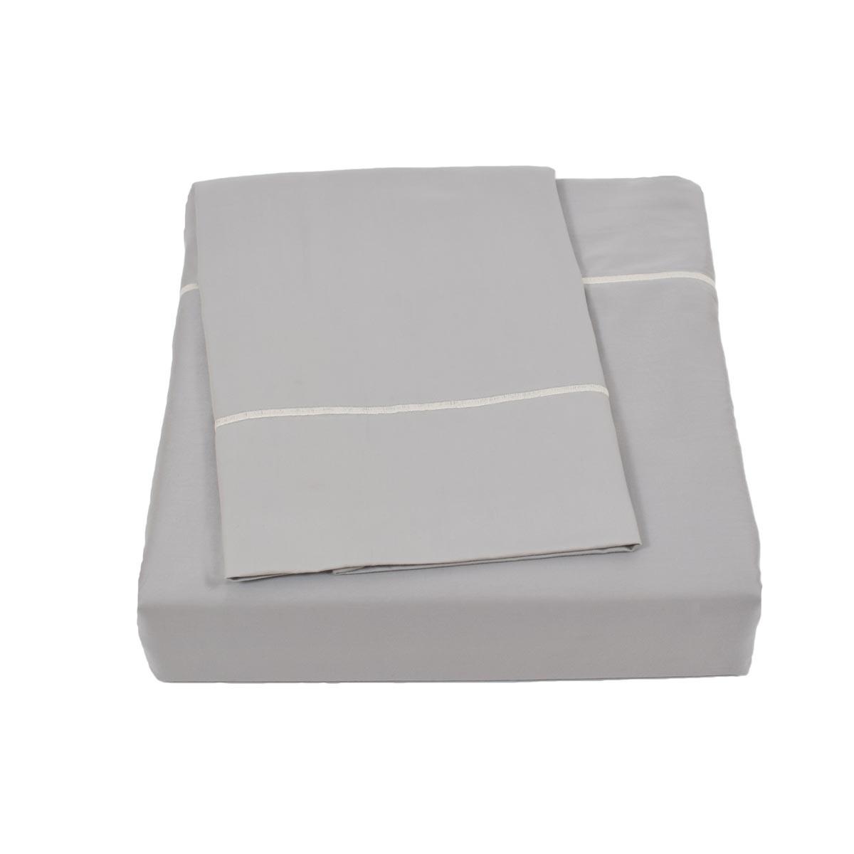 Σεντόνια Υπέρδιπλα (Σετ) BW Satin Cotton Light Grey