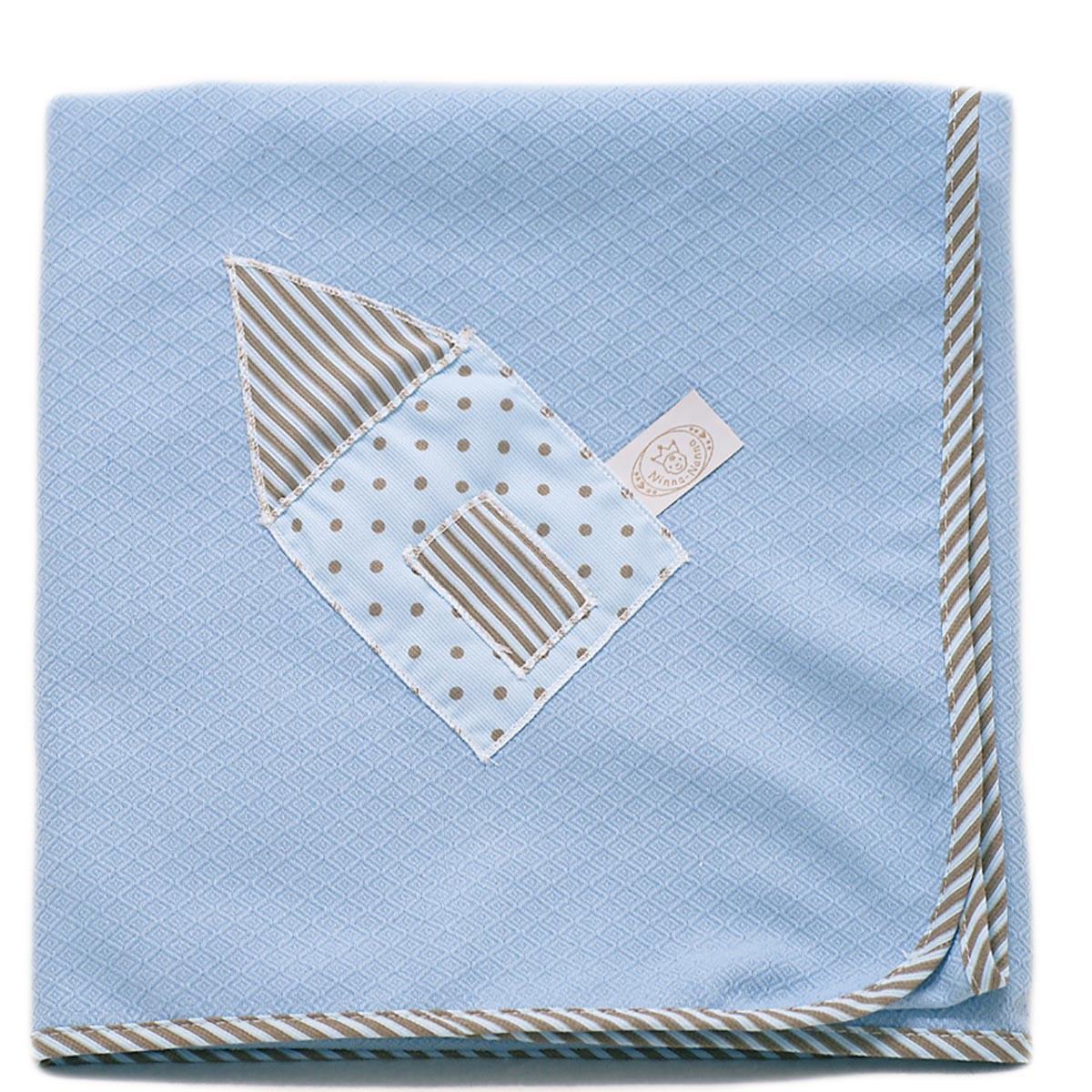 Κουβέρτα Πικέ Αγκαλιάς Ninna Nanna Σιέλ Καφέ home   βρεφικά   κουβέρτες βρεφικές   κουβέρτες καλοκαιρινές