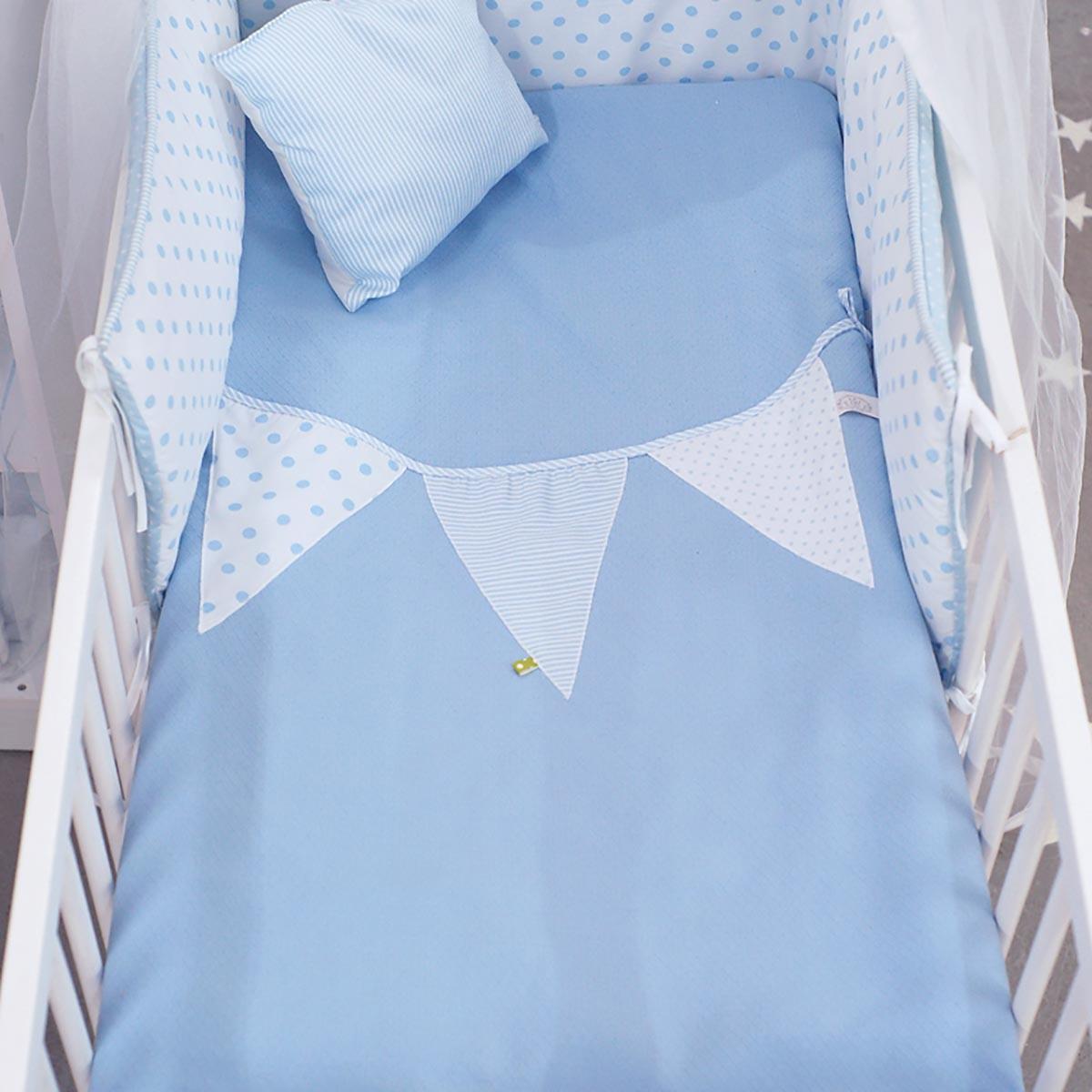 Κουβέρτα Πικέ Κούνιας Ninna Nanna Σιέλ Πουά home   βρεφικά   κουβέρτες βρεφικές   κουβέρτες καλοκαιρινές