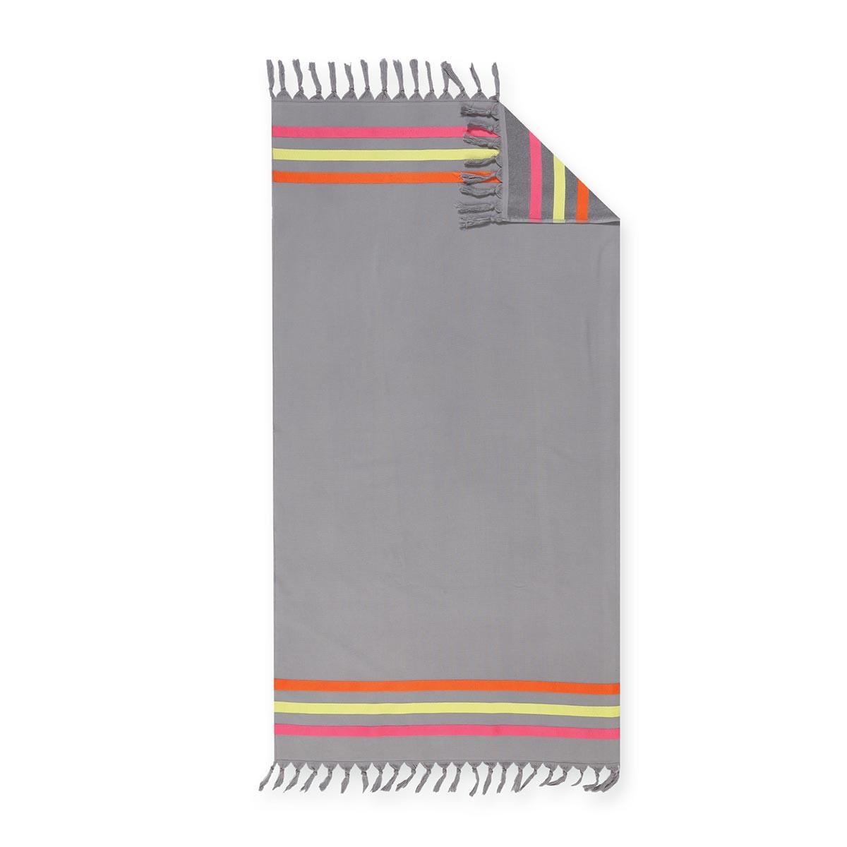Πετσέτα Θαλάσσης - Παρεό Nef-Nef Simple Grey/Fuchsia