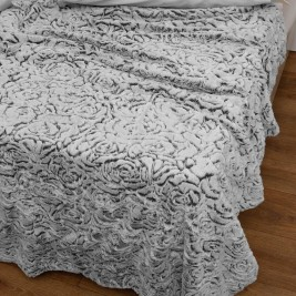 Κουβέρτα Fleece Μονή Με Γουνάκι Anna Riska 370 Grey