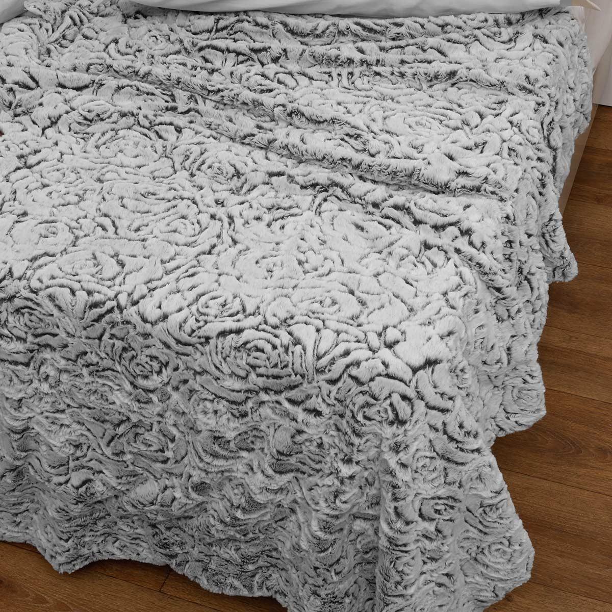 Κουβέρτα Fleece Μονή Με Γουνάκι Anna Riska 370 Grey 63250