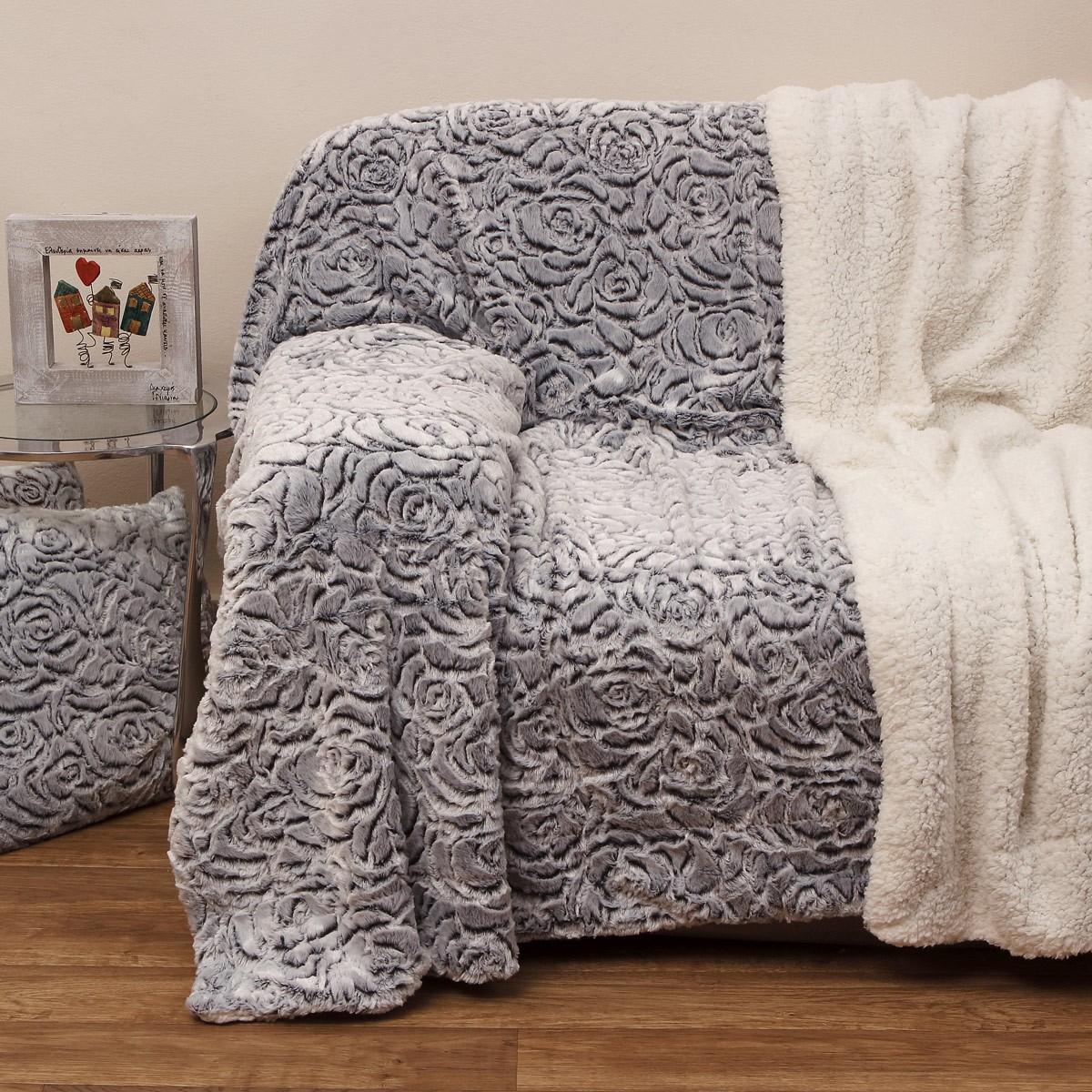 Κουβέρτα Καναπέ Με Γουνάκι Anna Riska 370 Grey