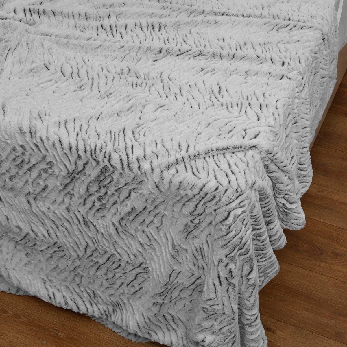Κουβέρτα Fleece Υπέρδιπλη Με Γουνάκι Anna Riska 360 Grey