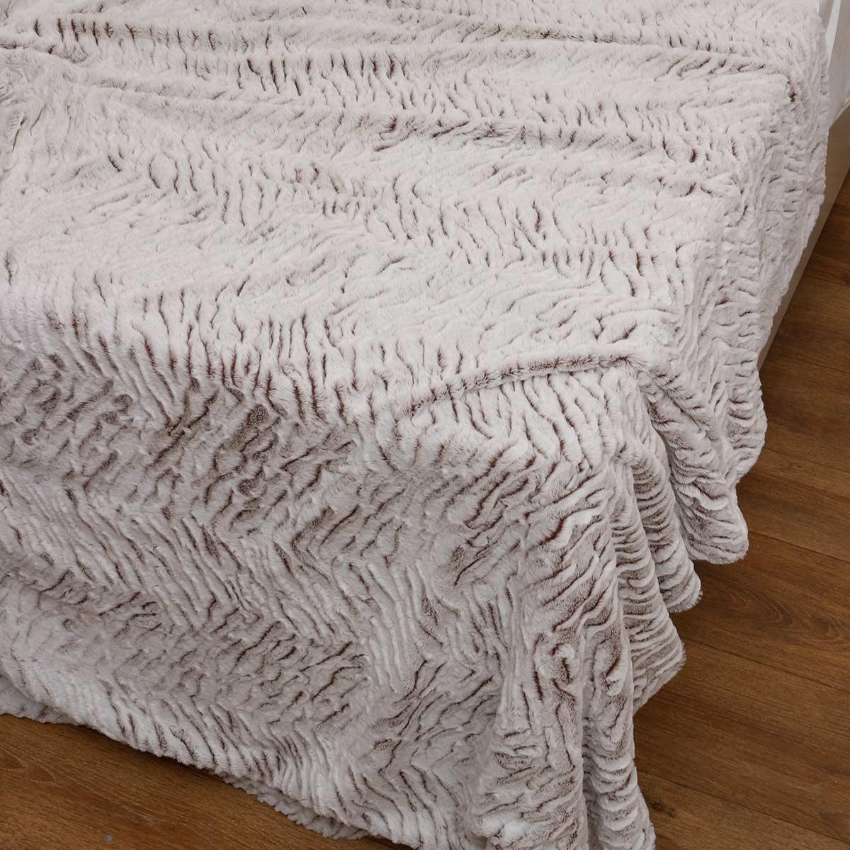 Κουβέρτα Fleece Υπέρδιπλη Με Γουνάκι Anna Riska 360 Beige
