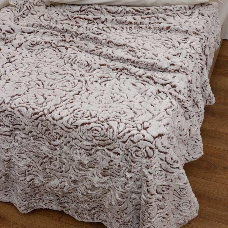 Κουβέρτα Fleece Υπέρδιπλη Με Γουνάκι Anna Riska 370 Beige