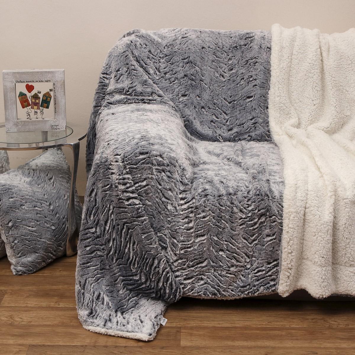 Κουβέρτα Καναπέ Με Γουνάκι Anna Riska 360 Grey
