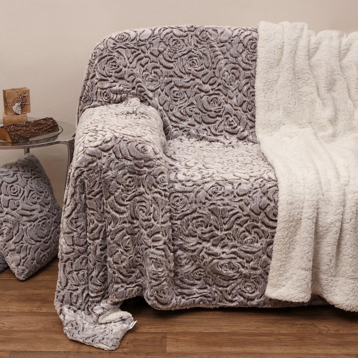 Κουβέρτα Καναπέ Με Γουνάκι Anna Riska 370 Beige