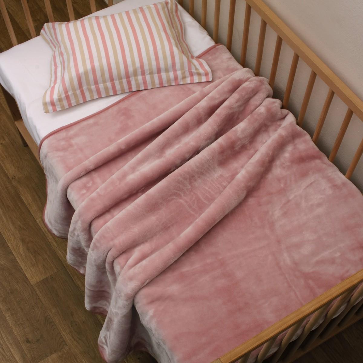 Κουβέρτα Βελουτέ Κούνιας Anna Riska Velour Blush Pink