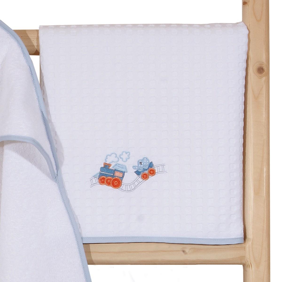 Κουβέρτα Πικέ Κούνιας Anna Riska Train home   βρεφικά   κουβέρτες βρεφικές   κουβέρτες καλοκαιρινές