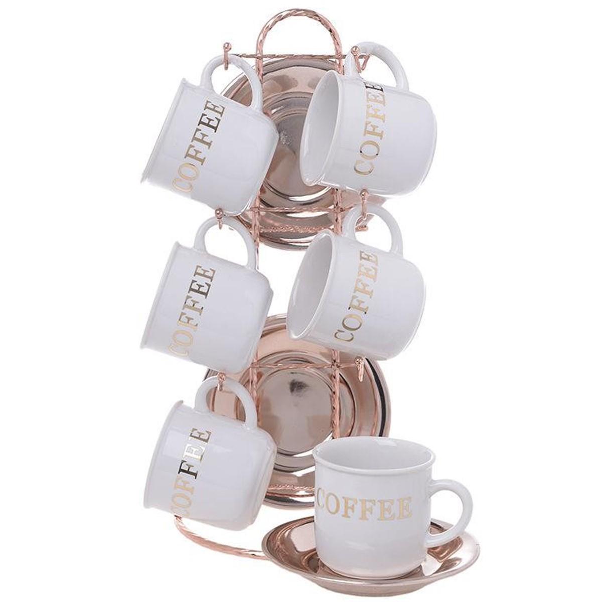 Φλυτζάνια Καφέ + Πιατάκια (Σετ 6τμχ) InArt 3-60-931-0104