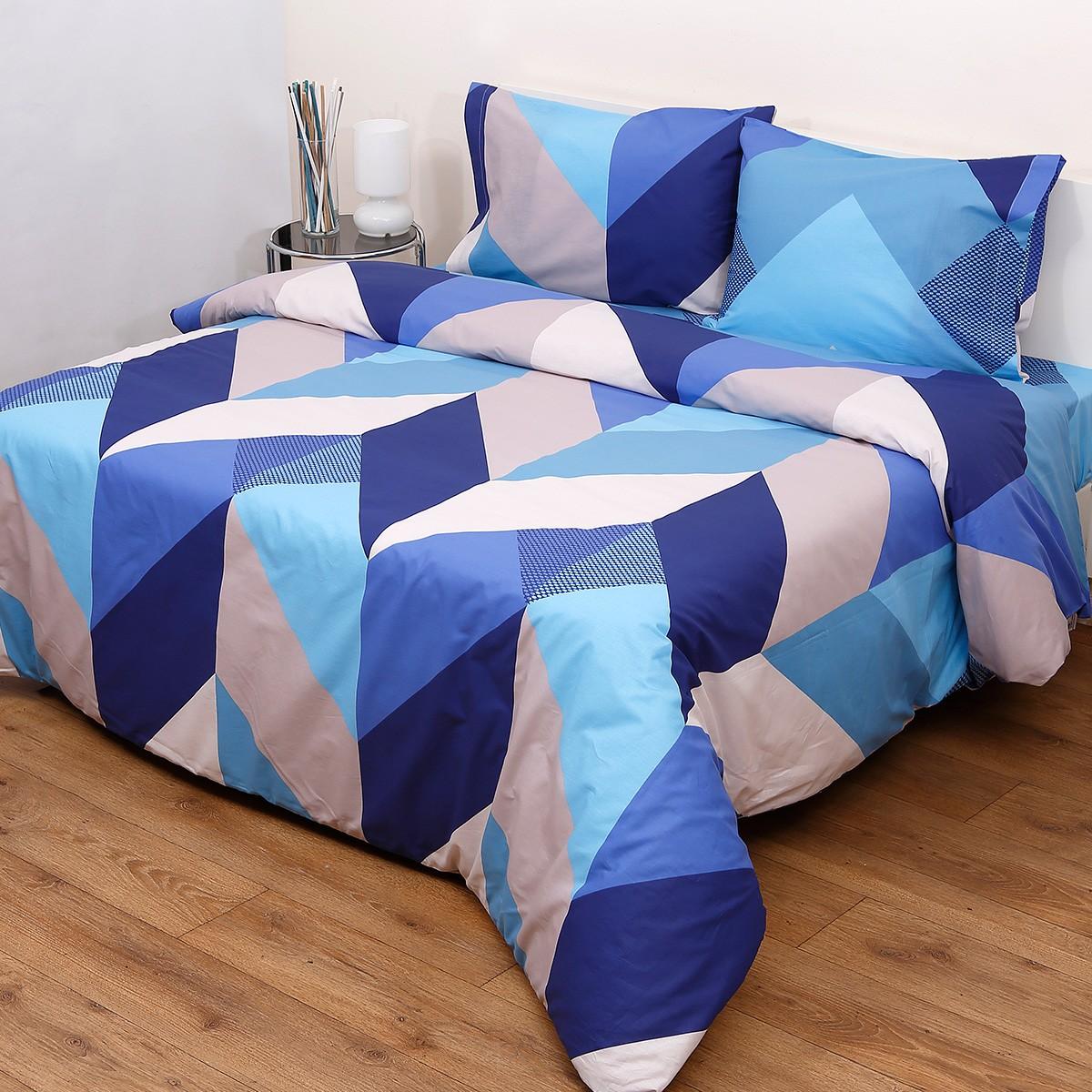 Σεντόνια King Size (Σετ) Viopros Fresh Ένζο Μπλε