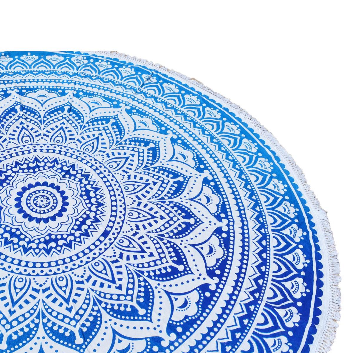 Στρογγυλή Πετσέτα Θαλάσσης Viopros Όμπρι Μπλε