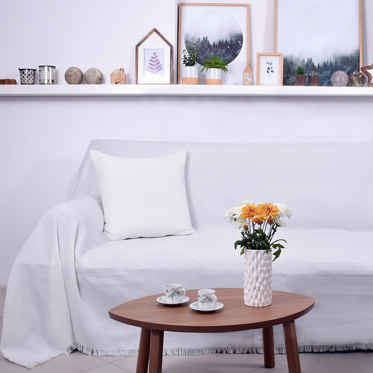Ριχτάρι Πολυθρόνας (180×180) Ravelia Frugal White