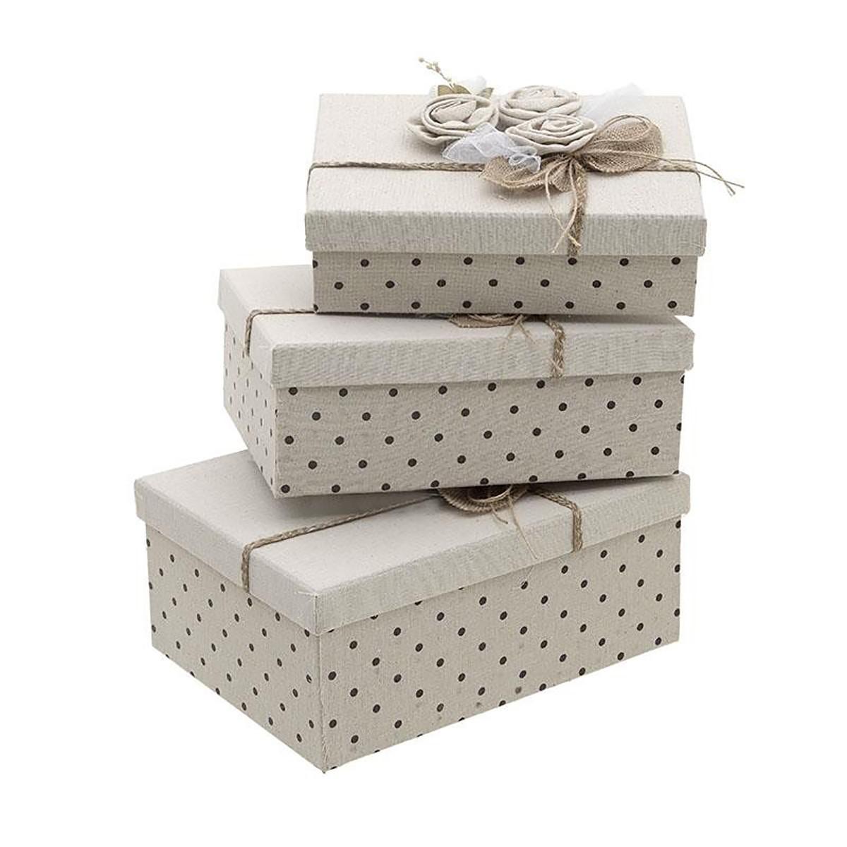 Κουτιά Αποθήκευσης (Σετ 3τμχ) InArt 3-70-627-0014