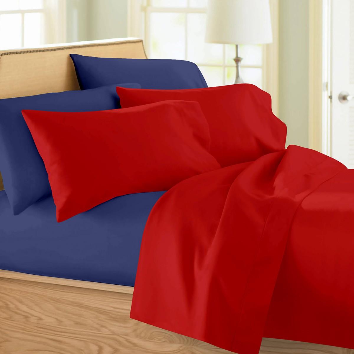 Σεντόνια Υπέρδιπλα (Σετ) Maison Blanche 11002 Κόκκινο/Μπλε
