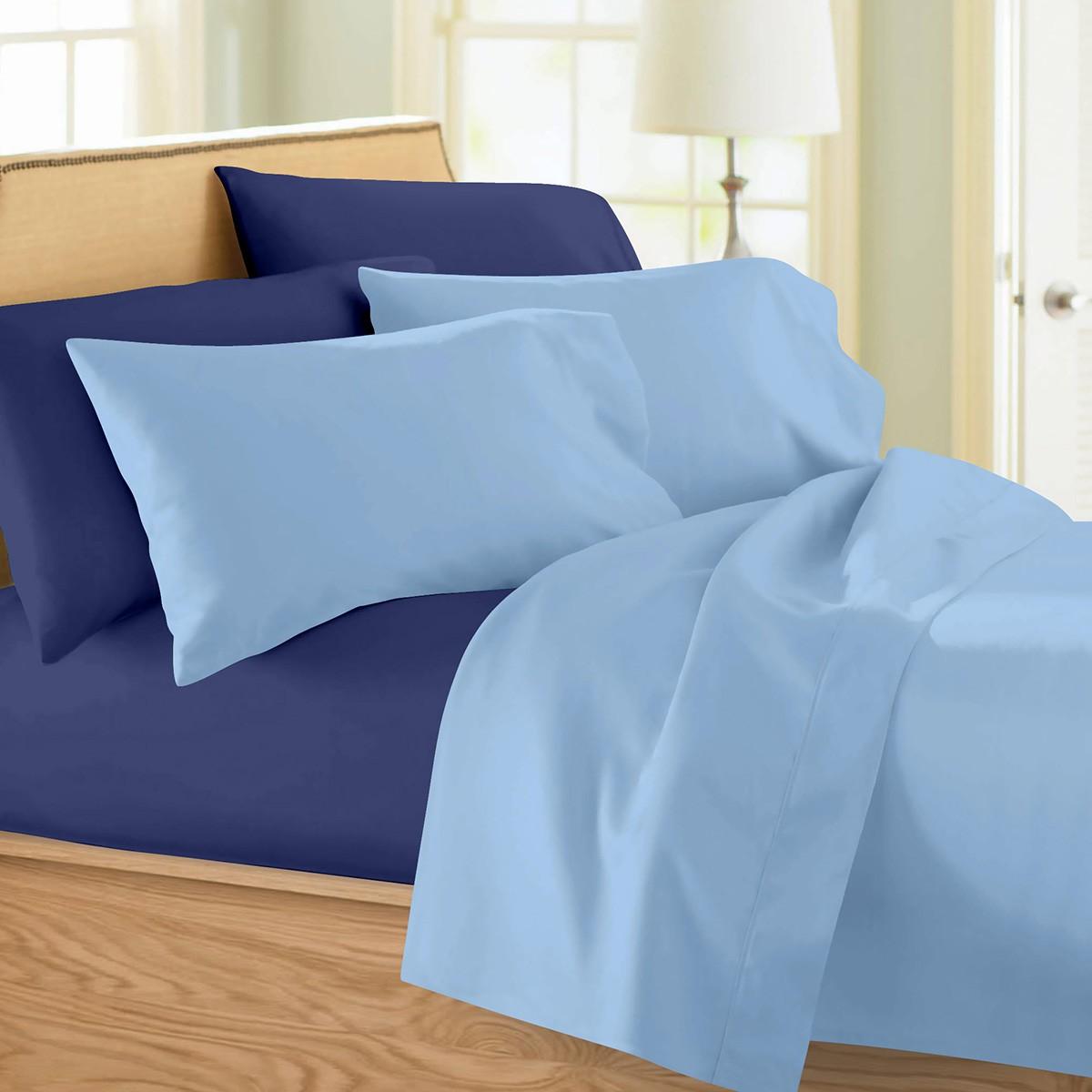 Σεντόνια Υπέρδιπλα (Σετ) Maison Blanche 11002 Γαλάζιο/Μπλε