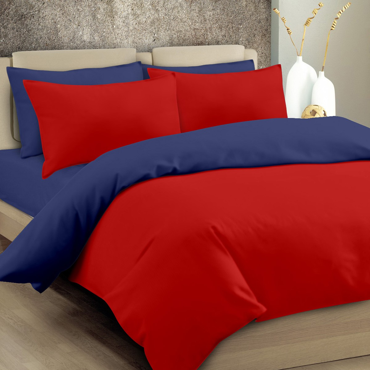 Παπλωματοθήκη Μονή Maison Blanche 11003 Κόκκινο/Μπλε
