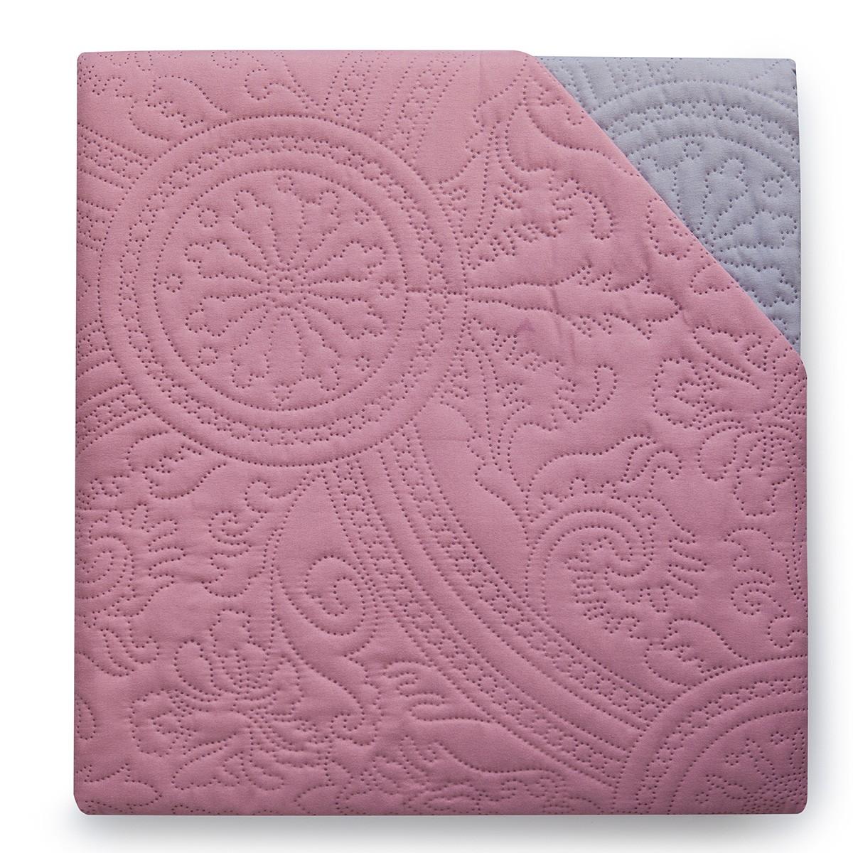 Κουβερλί Υπέρδιπλο Διπλής Όψης Melinen Rose/Grey