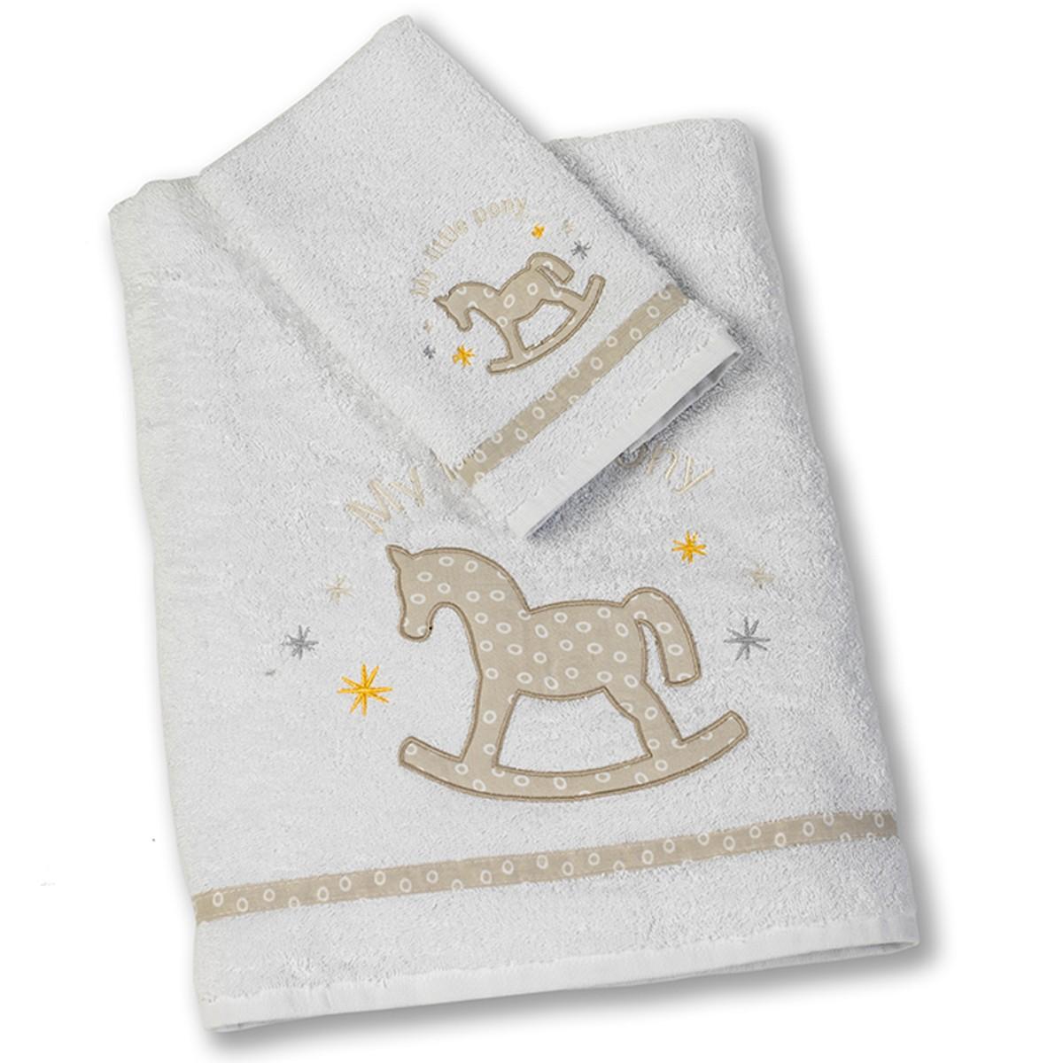 Βρεφικές Πετσέτες (Σετ 2τμχ) Nima Pony Beige