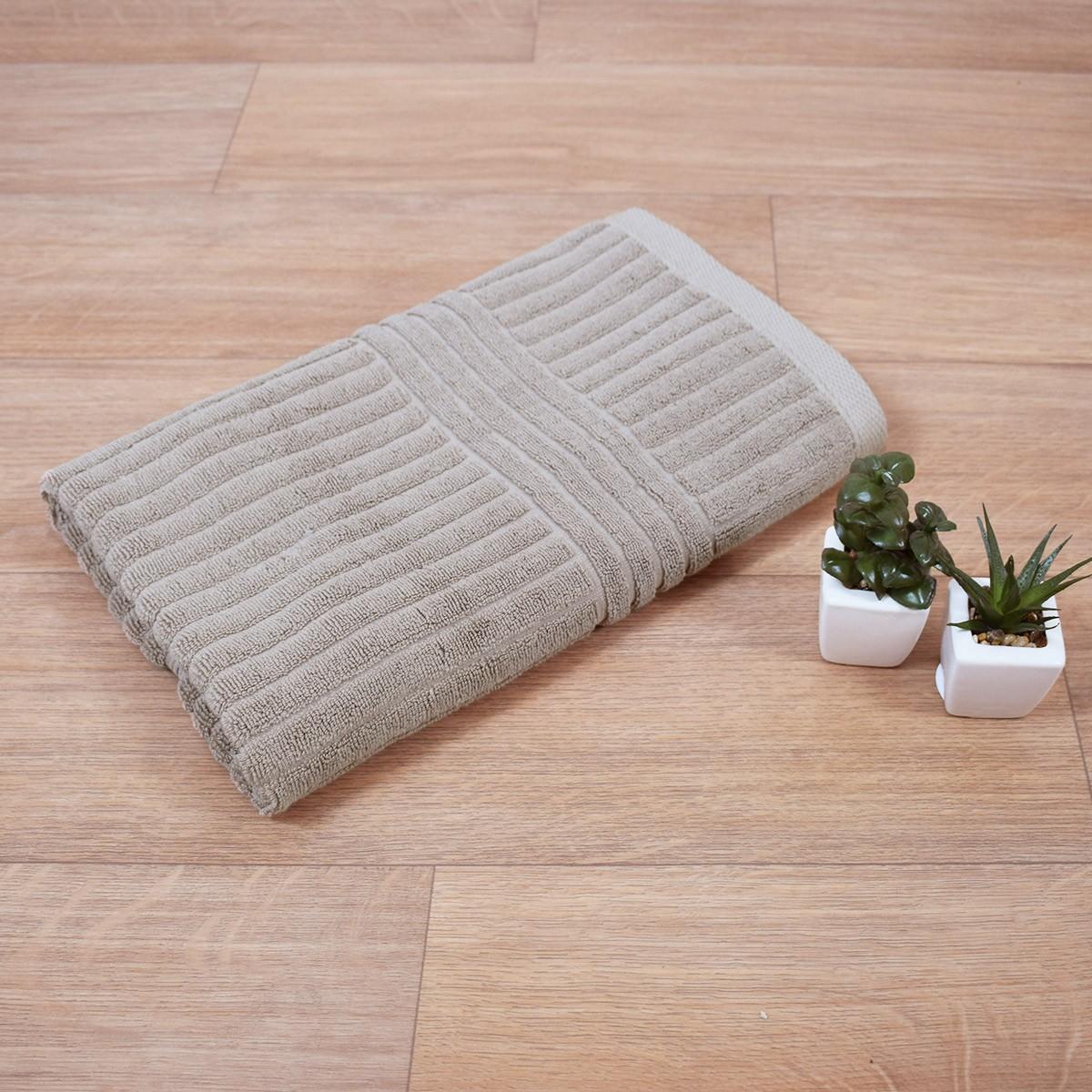 Πετσέτα Σώματος Μπεζ (75×150) Κοτλέ 720gr/m2