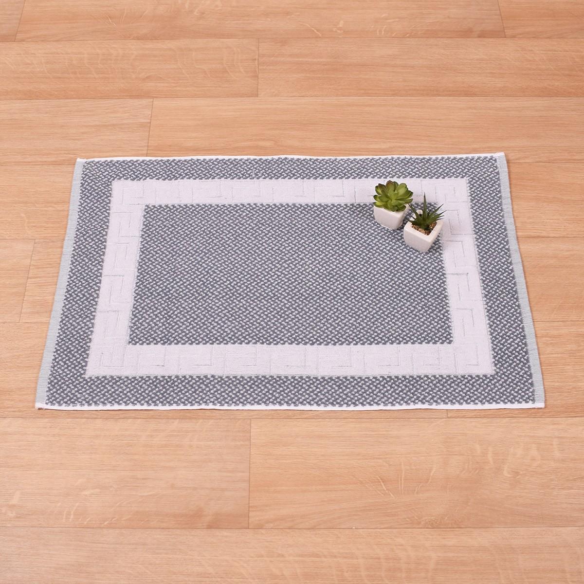 Πετσετέ Πατάκι Μπάνιου (50×75) Μαίανδρος Λευκό-Γκρι 650gr/m2 73694