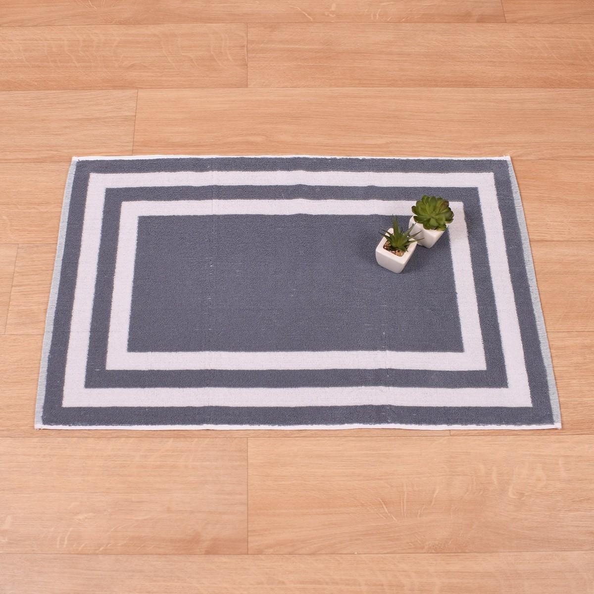 Πετσετέ Πατάκι Μπάνιου (50×75) Κορνίζα Γκρι-Λευκό 700gr/m2 73696