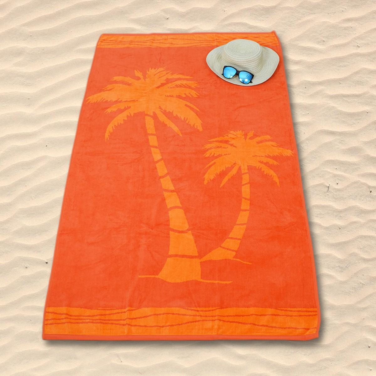 Πετσέτα Θαλάσσης Rythmos Orange Palm Trees