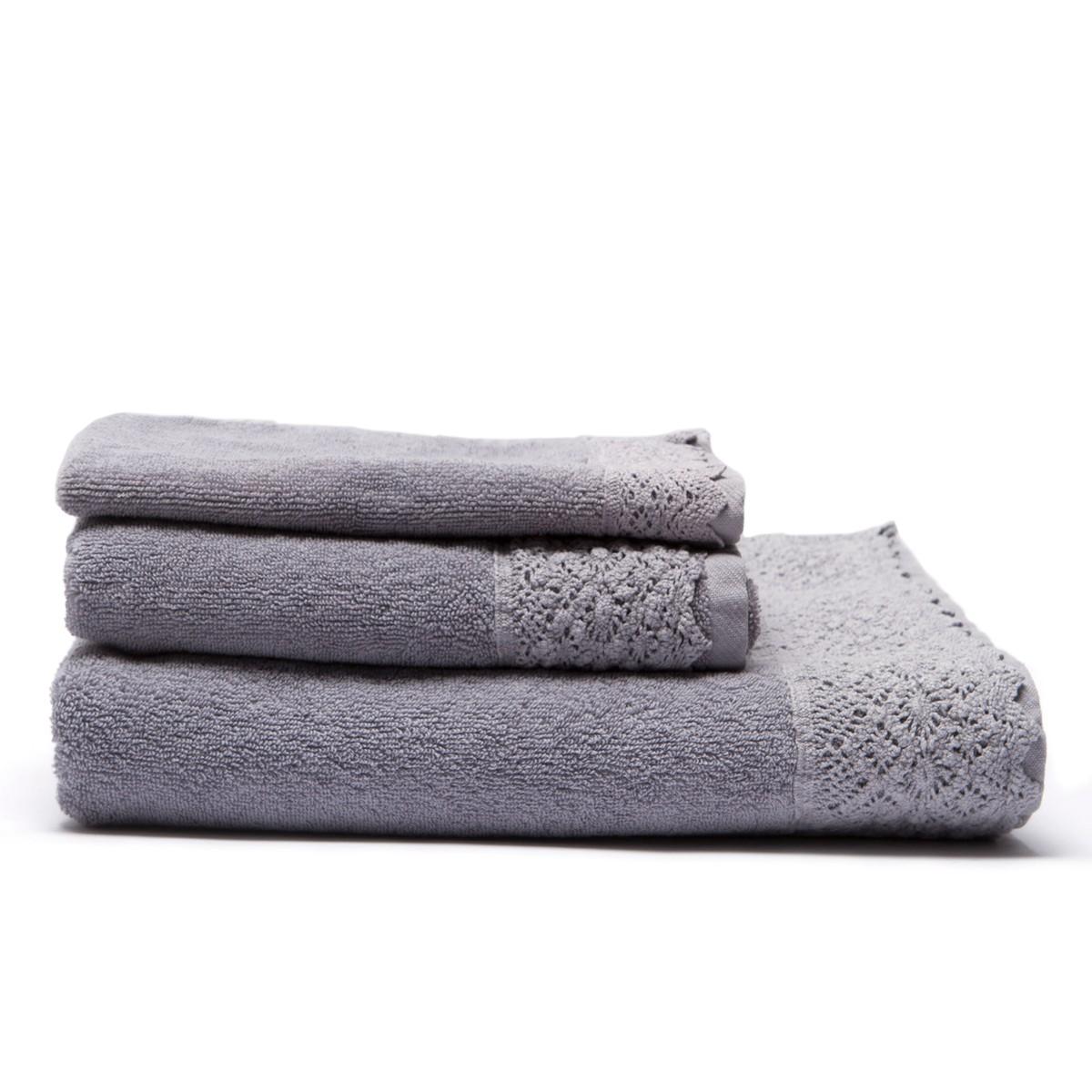 Πετσέτα Σώματος (90x150) Laura Ashley Dantelle Grey home   μπάνιο   πετσέτες μπάνιου