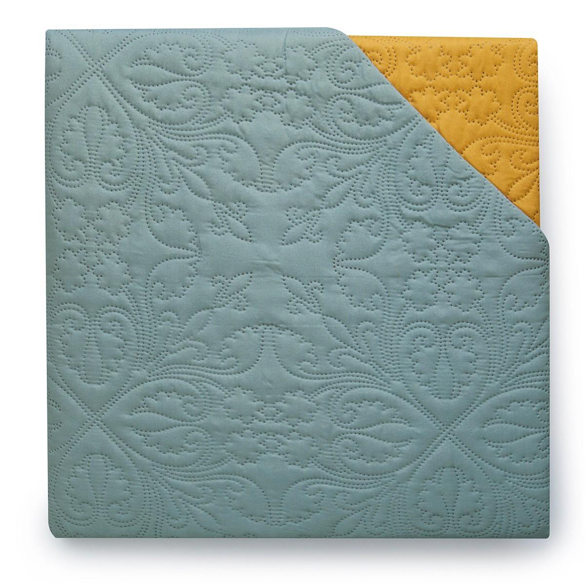 Κουβερλί Μονό Διπλής Όψης Melinen Silver Blue/Mustard