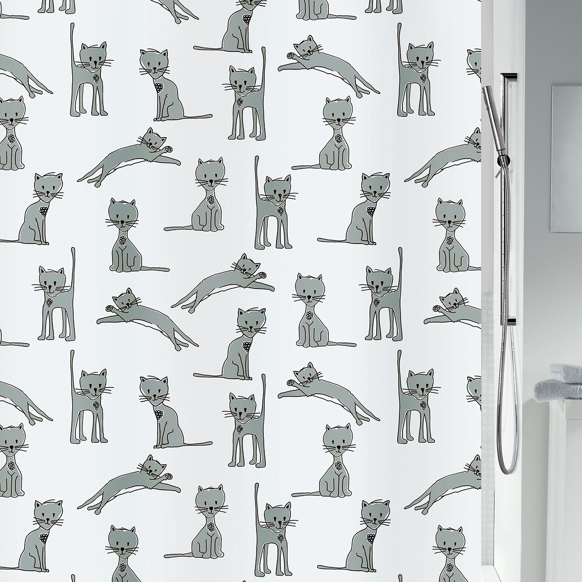 Κουρτίνα Μπάνιου (180x200) LifeStyle Cats Grey
